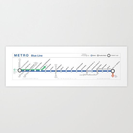 Twin Cities METRO Blue Line Map Art Print