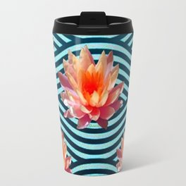 Peach Color Water Lily Water Garden Travel Mug