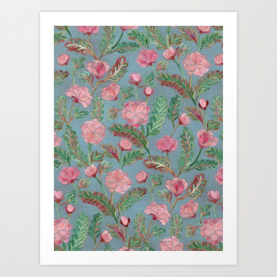 Soft Smudgy Pink and Green Floral Pattern Art Print