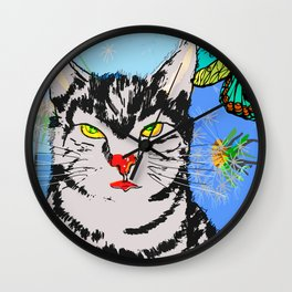 Kater in der Wiese Wall Clock