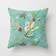 Teal Cradle Flora Throw Pillow