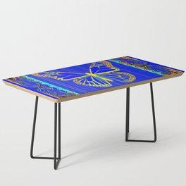 Lapis Blue & Gold Monarch Western Art design Coffee Table