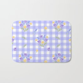 Spring picnic bouquets in Provence blue Bath Mat
