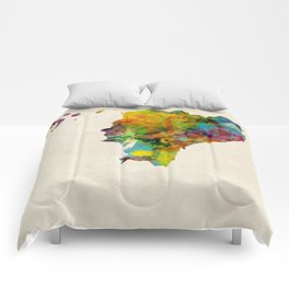 Ecuador Watercolor Map Comforters