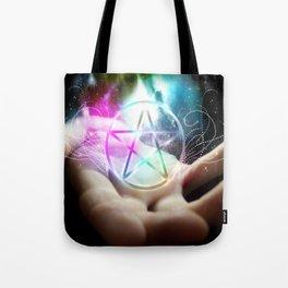 Magickal flaming pentacle Tote Bag