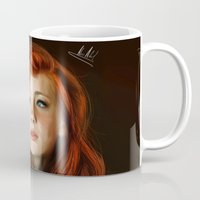 redhead Mugs featuring RedHead by Allaa Adel