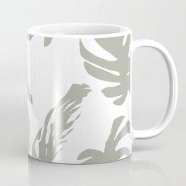 Simply Retro Gray Palm Leaves on White Coffee Mug