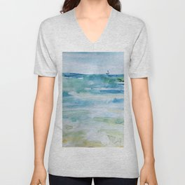 Miami Beach Watercolor #1 Unisex V-Neck