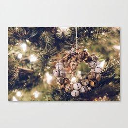 Jingle Bell Wreath on Christmas Tree (Color) Canvas Print