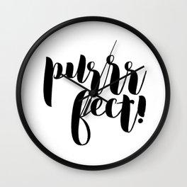 purrrfect! (black) Wall Clock