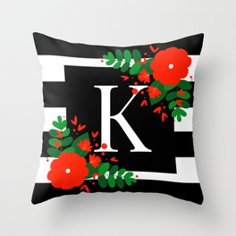 K - Monogram Black and White with Red Flowers Throw Pillow