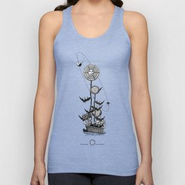 Abstract Techie Art, Thistle flower, Space Rocket, Soviet Sputnik, Vintage robot illustration Unisex Tank Top
