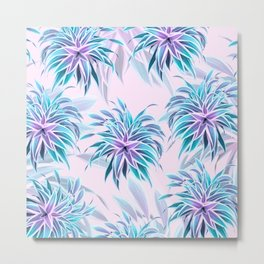 Pink & Aqua Plant Pattern on Pale Pink Metal Print