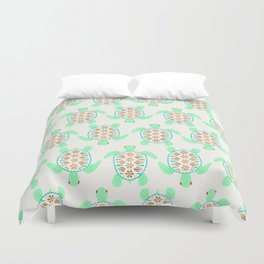 Sea turtle green pink and metallic accents Duvet Cover