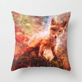 CUTE LITTLE BABY FOX CUB PUP Throw Pillow