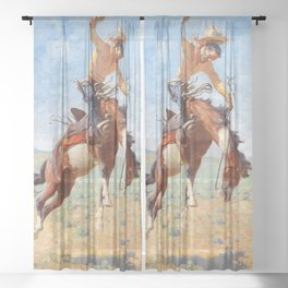 "William Leigh Western Art ""Bucking Bronco"" Sheer Curtain"