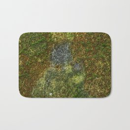 Old stone wall with moss Bath Mat