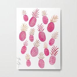 Pink Pineapple Watercolor Metal Print