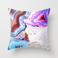purple Throw Pillows featuring Agate, a vivid Metamorphic rock on Fire by Elena Kulikova
