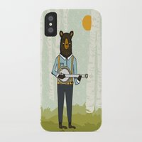 banjo iPhone & iPod Cases featuring Bear's Bourree - Bear Playing Banjo by Prelude Posters