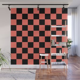 LIVING CORAL WITH BLACK CHECKS PATTERN Wall Mural