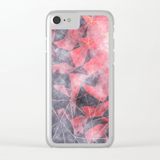 In the deep of the hell-Black red and yellow triangle pattern Clear iPhone Case