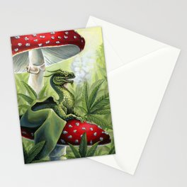 Smoking Dragon in Cannabis Leaves Stationery Cards