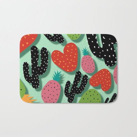 Cactus Love and Pineapples Bath Mat