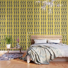 Penguins Pattern Yellow Wallpaper