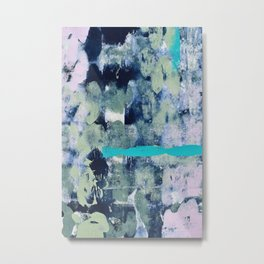 014.4: a bright contemporary abstract design in greens and lavender by Alyssa Hamilton Art  Metal Print