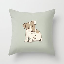 Jack Russell Terrier Dog Illustration Throw Pillow