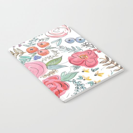 Watercolor Floral Print Notebook