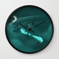 pilot Wall Clocks featuring Pilot by Ramona Treffers
