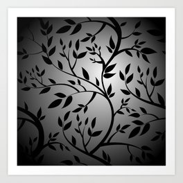 Black Trees on Gray Art Print