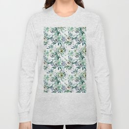 Country white green rustic watercolor floral Long Sleeve T-shirt