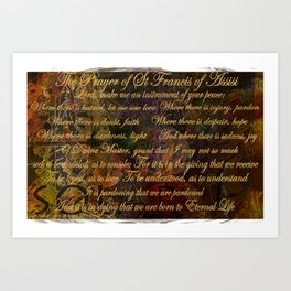 The Prayer of St Francis of Assisi Art Print