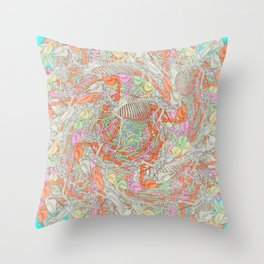 Psychedelic Horse Skeleton Throw Pillow