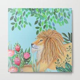 lion, jungle tropical rain forest zen botanical Metal Print