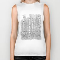 birch Biker Tanks featuring Birch Trees Black and White Illustration by Vermont Greetings