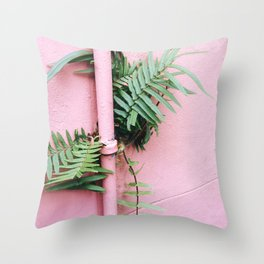 Plants on Pink Throw Pillow
