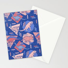Nineties Dinosaurs Pattern  - Rose Quartz and Serenity version Stationery Cards