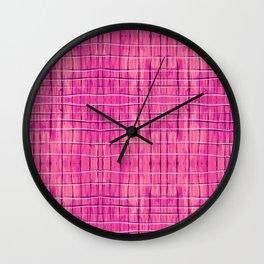 Magenta Madras Plaid Wall Clock