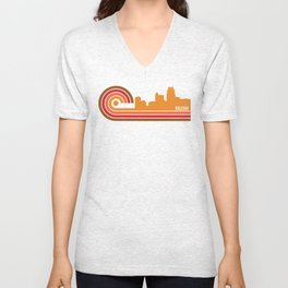 Retro Style Raleigh North Carolina Skyline Unisex V-Neck