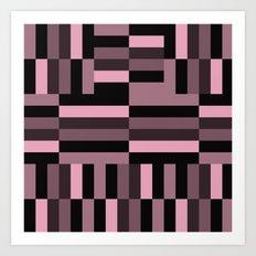 pink and black blocks Art Print