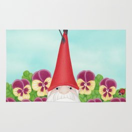 gnome with magnolia warbler and pansies Rug