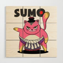 Sumo Wrestler Cat Yokozuna ネコ Neko Pink Wood Wall Art