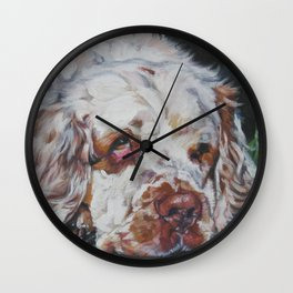 The Clumber Spaniel dog art portrait from an original painting by L.A.Shepard Wall Clock