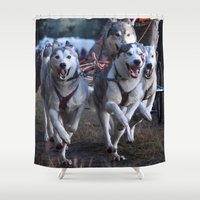 running Shower Curtains featuring Running by paulineamphlett