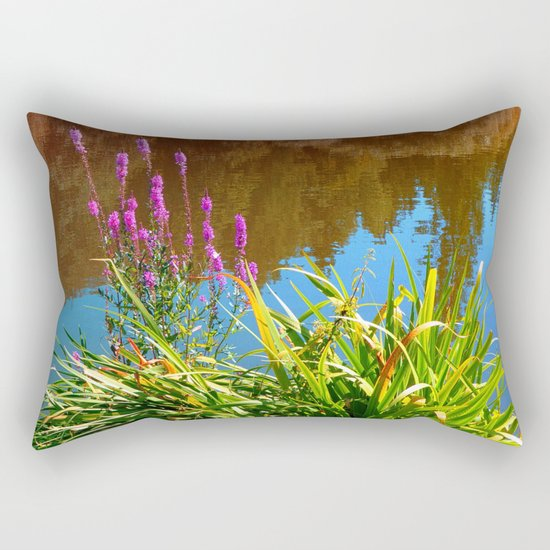 Flowers at the pond Rectangular Pillow