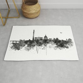 Washington DC Skyline Black and White Rug